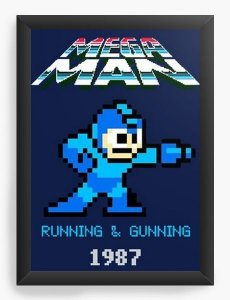Quadro Decorativo A3 (45X33) Mega Man - Nerd e Geek - Presentes Criativos