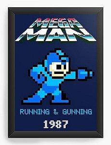 Quadro Decorativo A4 (33X24) Mega Man - Nerd e Geek - Presentes Criativos