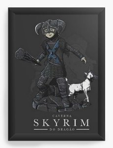 Quadro Decorativo A3 (45X33)  Caverna do Dragao Skyrim - Nerd e Geek - Presentes Criativos