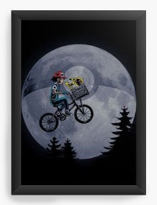 Quadro Decorativo A3 (45X33)  Pokemon E.T - Nerd e Geek - Presentes Criativos
