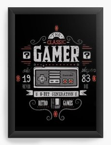 Quadro Decorativo A4 (33X24) Classic Gamer - Nerd e Geek - Presentes Criativos