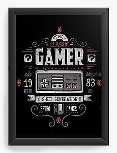 Quadro Decorativo A4 (33X24) Gamer 16bit Super  - Nerd e Geek - Presentes Criativos