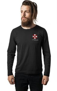 Camiseta Masculina Manga Longa  Resident Evil Umbrella Corporation - Nerd e Geek - Presentes Criativos