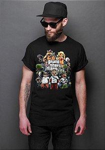 Camiseta Masculina  Grand Theft Mario - Nerd e Geek - Presentes Criativos