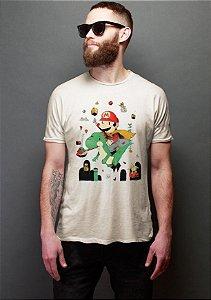 Camiseta Masculina  O pequeno Mario Bros - Nerd e Geek - Presentes Criativos