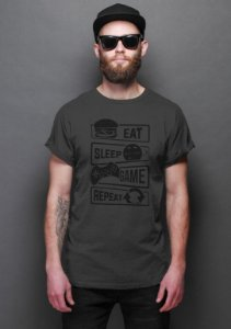 Camiseta Masculina Game Sleep Repeat Nerd e Geek - Presentes Criativos
