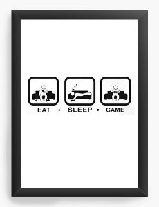 Quadro Decorativo Eat Sleep Game Nerd e Geek - Presentes Criativos