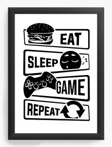 Quadro Decorativo Eat Sleep Game Repeat Nerd e Geek - Presentes Criativos