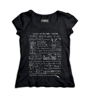 Camiseta Feminina Theory of Relativity Space Time - Nerd e Geek - Presentes Criativos