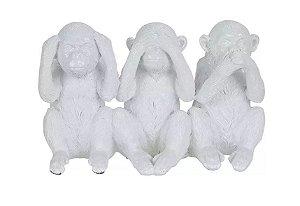 Escultura Os Três Macacos Sábios Branco 17x10,8cm