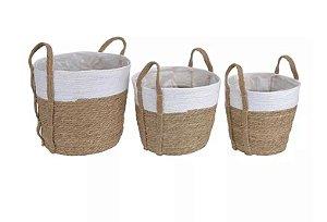 Kit Cestos de Palha com 3 und Branco Marrom 35x32cm