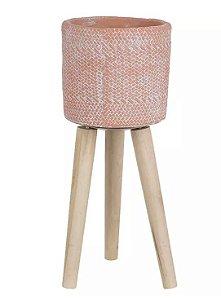 Cachepot Cimento com Suporte Terracota 40cm