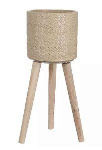Cachepot Cimento com Suporte Bege 40cm