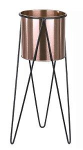 Vaso Metal com Suporte em Metal Rosé 45cm