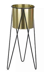 Vaso Metal com Suporte em Metal Dourado 45cm