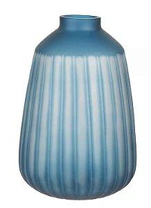 Vaso Vidro Decorativo Canelado Azul 33,5x21,5cm