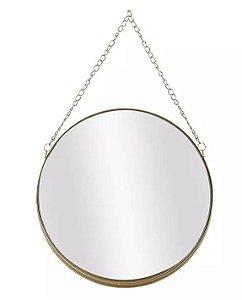 Espelho Redondo Para Pendurar Corrente Dourada 26x26cm