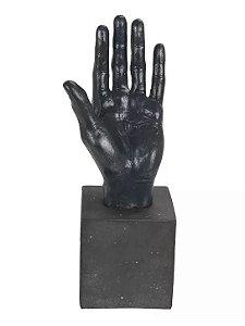 Escultura Mão Poliresina Preta 32,5x11cm