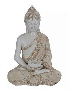 Escultura Buda Resina Branco 29x20cm
