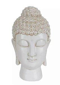 Escultura Cabeça de Buda Resina Branco 23x13,5cm