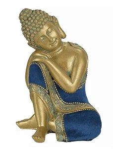 Escultura Buda Resina Dourado Azul 19,5x12,5cm
