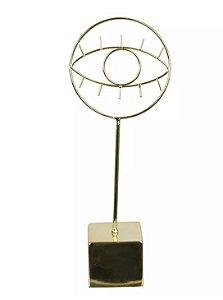 Escultura Olho Cerâmica Metal 32,1x12,2cm