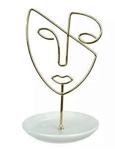 Porta-objetos Face Metal Cerâmica Dourado 19,1x11,9cm