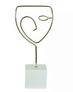 Escultura Face Metal Cerâmica Dourado Branco 25,4x11,8cm