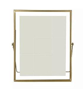 Porta-retrato Metal Vidro Dourado 20x25cm