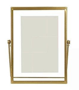Porta-retrato Metal Vidro Dourado 15x20cm