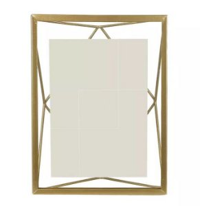 Porta-retrato Metal Geométrico Dourado 13x18cm
