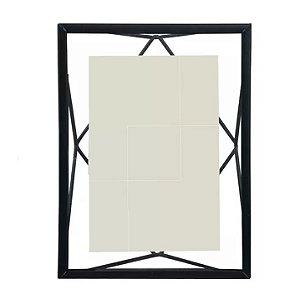 Porta-retrato Metal Geométrico Preto 10x15cm
