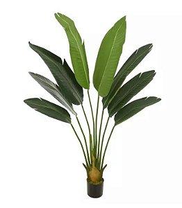 Planta Árvore Artificial Palmeira Viajante com Pote Verde 1,2m