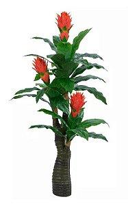 Planta Árvore Artificial Bromélia Real Toque Verde Vermelho 1,6m