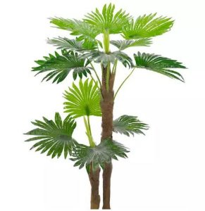 Planta Artificial Árvore Palmeira Leque Palha Natural Verde 1,4m