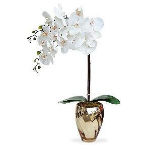 Arranjo de Orquídeas brancas de Silicone em Vaso Vidro Ondas Dourado