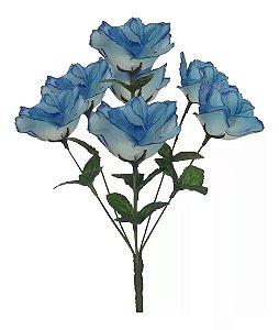 Buquê Rosa Artificial Azul com Branco 32cm