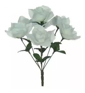 Buquê Rosa Artificial Branco 32cm