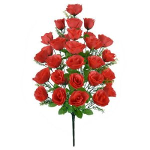 Buquê Flor Artificial Rosa Vermelha 68cm