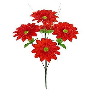 Buquê Flor Artificial Margarida Vermelho 37cm