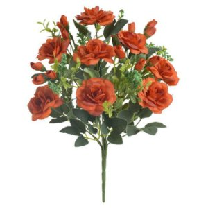 Buquê Flor Artificial Rosa Laranja Outono 37cm