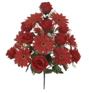 Buquê Rosa Margarida Cetim X18 (VERMELHO) 54cm