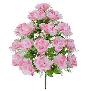 Buquê Flor Artificial Rosa Cor de Rosa 56cm