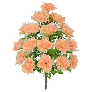 Buquê Flor Artificial Rosa Pêssego 56cm