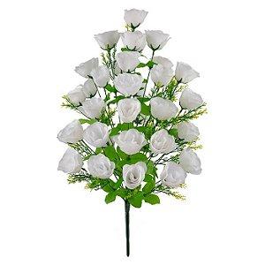 Buquê Flor Artificial Rosa Branca 68cm