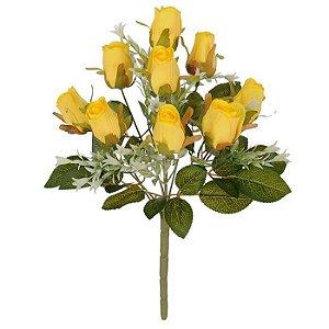 Buquês Rosa Botão Amarelo 37 cm