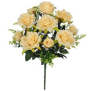 Buquê Flor Artificial Rosa Pêssego 50cm