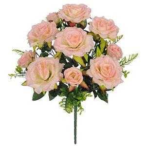 Buquê Flor Artificial Rosa cor de Rosa 50cm