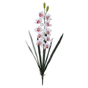 Haste Orquidea Cymbidium Branco Vermelho 94cm