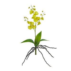 Haste Flor Orquídea Dançante Amarelo 37cm